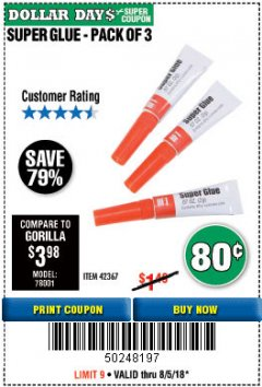 Harbor Freight Coupon SUPER GLUE PACK OF 3 Lot No. 42367 Expired: 8/5/18 - $0.8