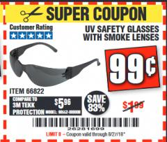 Harbor Freight Coupon UV SAFETY GLASSES WITH SMOKE LENSES Lot No. 66822 Expired: 8/27/18 - $0.99