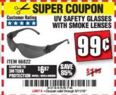 Harbor Freight Coupon UV SAFETY GLASSES WITH SMOKE LENSES Lot No. 66822 Expired: 9/11/18 - $0.99
