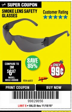 Harbor Freight Coupon UV SAFETY GLASSES WITH SMOKE LENSES Lot No. 66822 Expired: 11/18/18 - $0.99
