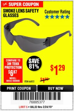 Harbor Freight Coupon UV SAFETY GLASSES WITH SMOKE LENSES Lot No. 66822 Expired: 2/24/19 - $1.29