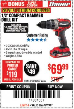 "Harbor Freight Coupon BAUER 20 VOLT CORDLESS 1/2"" COMPACT HAMMER DRILL KIT Lot No. 63527 Expired: 9/2/18 - $69.99"