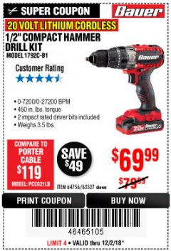 "Harbor Freight Coupon BAUER 20 VOLT CORDLESS 1/2"" COMPACT HAMMER DRILL KIT Lot No. 63527 Expired: 12/2/18 - $69.99"