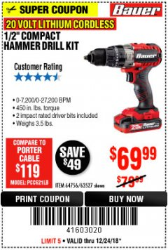 "Harbor Freight Coupon BAUER 20 VOLT CORDLESS 1/2"" COMPACT HAMMER DRILL KIT Lot No. 63527 Expired: 12/24/18 - $69.99"