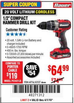 "Harbor Freight Coupon BAUER 20 VOLT CORDLESS 1/2"" COMPACT HAMMER DRILL KIT Lot No. 63527 Expired: 4/1/19 - $64.99"