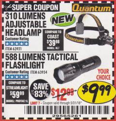 Harbor Freight Coupon 310 LUMEN HEADLAMP Lot No. 63921 Expired: 5/31/18 - $9.99