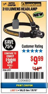 Harbor Freight Coupon 310 LUMEN HEADLAMP Lot No. 63921 Expired: 7/8/18 - $9.99