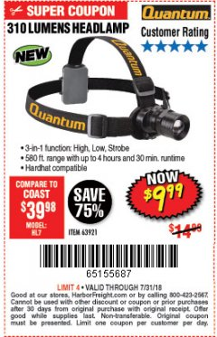 Harbor Freight Coupon 310 LUMEN HEADLAMP Lot No. 63921 Expired: 7/31/18 - $9.99