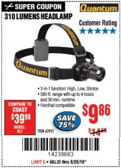 Harbor Freight Coupon 310 LUMEN HEADLAMP Lot No. 63921 Expired: 8/26/18 - $9.86
