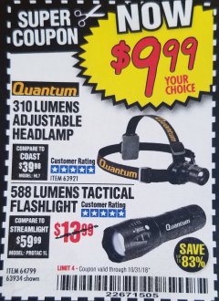 Harbor Freight Coupon 310 LUMEN HEADLAMP Lot No. 63921 Expired: 10/31/18 - $9.99