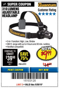 Harbor Freight Coupon 310 LUMEN HEADLAMP Lot No. 63921 Expired: 9/30/18 - $9.99