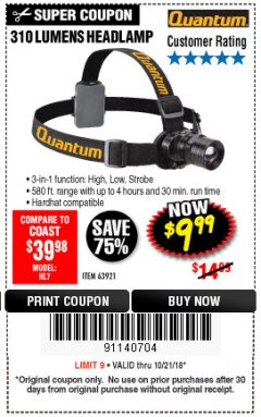 Harbor Freight Coupon 310 LUMEN HEADLAMP Lot No. 63921 Expired: 10/21/18 - $9.99