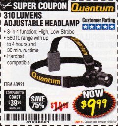 Harbor Freight Coupon 310 LUMEN HEADLAMP Lot No. 63921 Expired: 11/30/18 - $9.99