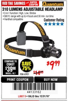 Harbor Freight Coupon 310 LUMEN HEADLAMP Lot No. 63921 Expired: 12/31/18 - $9.99