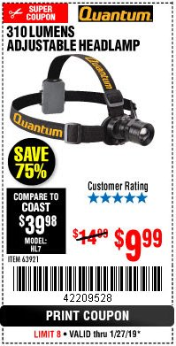 Harbor Freight Coupon 310 LUMEN HEADLAMP Lot No. 63921 Expired: 1/27/19 - $9.99