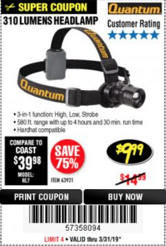 Harbor Freight Coupon 310 LUMEN HEADLAMP Lot No. 63921 Expired: 3/31/19 - $9.99