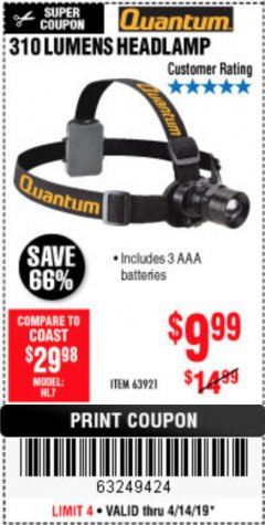 Harbor Freight Coupon 310 LUMEN HEADLAMP Lot No. 63921 Expired: 4/14/19 - $9.99