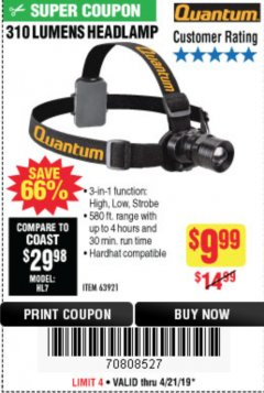 Harbor Freight Coupon 310 LUMEN HEADLAMP Lot No. 63921 Expired: 4/21/19 - $9.99