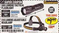 Harbor Freight Coupon 310 LUMEN HEADLAMP Lot No. 63921 Expired: 6/30/19 - $9.99