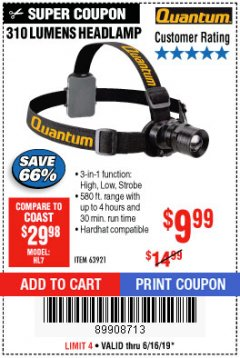 Harbor Freight Coupon 310 LUMEN HEADLAMP Lot No. 63921 Expired: 6/16/19 - $9.99