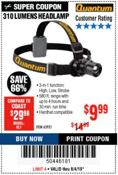 Harbor Freight Coupon 310 LUMEN HEADLAMP Lot No. 63921 Expired: 8/4/19 - $9.99