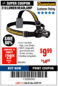 Harbor Freight Coupon 310 LUMEN HEADLAMP Lot No. 63921 Expired: 8/25/19 - $9.99