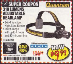 Harbor Freight Coupon 310 LUMEN HEADLAMP Lot No. 63921 Expired: 10/31/19 - $9.99
