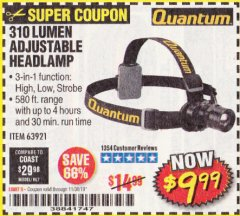 Harbor Freight Coupon 310 LUMEN HEADLAMP Lot No. 63921 Expired: 11/30/19 - $9.99