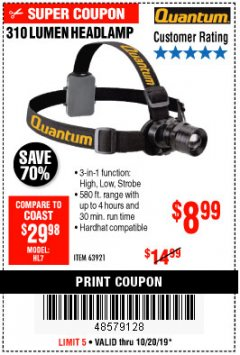 Harbor Freight Coupon 310 LUMEN HEADLAMP Lot No. 63921 Expired: 10/20/19 - $8.99