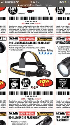 Harbor Freight Coupon 310 LUMEN HEADLAMP Lot No. 63921 Expired: 11/24/19 - $9.99