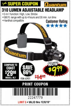 Harbor Freight Coupon 310 LUMEN HEADLAMP Lot No. 63921 Expired: 12/8/19 - $9.99