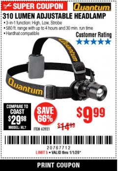 Harbor Freight Coupon 310 LUMEN HEADLAMP Lot No. 63921 Expired: 1/1/20 - $9.99