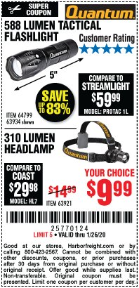 Harbor Freight Coupon 310 LUMEN HEADLAMP Lot No. 63921 Expired: 1/26/20 - $9.99