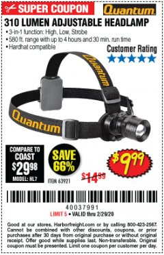 Harbor Freight Coupon 310 LUMEN HEADLAMP Lot No. 63921 Expired: 2/29/20 - $9.99