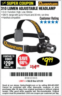 Harbor Freight Coupon 310 LUMEN HEADLAMP Lot No. 63921 Expired: 6/30/20 - $9.99