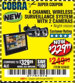 Harbor Freight Coupon 4 CHANNEL WIRELESS SURVEILLANCE SYSTEM WITH 2 CAMERAS Lot No. 63842 Expired: 8/20/18 - $229.99