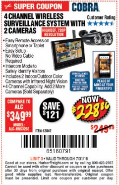 Harbor Freight Coupon 4 CHANNEL WIRELESS SURVEILLANCE SYSTEM WITH 2 CAMERAS Lot No. 63842 Expired: 7/31/18 - $228.86