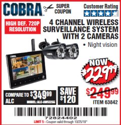 Harbor Freight Coupon 4 CHANNEL WIRELESS SURVEILLANCE SYSTEM WITH 2 CAMERAS Lot No. 63842 Expired: 10/25/18 - $229.99