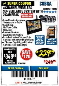 Harbor Freight Coupon 4 CHANNEL WIRELESS SURVEILLANCE SYSTEM WITH 2 CAMERAS Lot No. 63842 Expired: 8/31/18 - $229.99