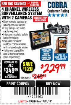 Harbor Freight Coupon 4 CHANNEL WIRELESS SURVEILLANCE SYSTEM WITH 2 CAMERAS Lot No. 63842 Expired: 12/31/18 - $229.99