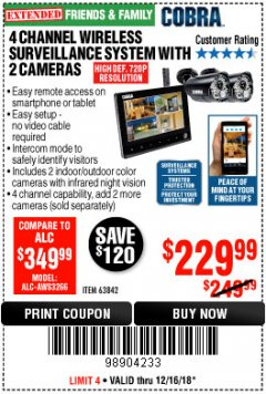 Harbor Freight Coupon 4 CHANNEL WIRELESS SURVEILLANCE SYSTEM WITH 2 CAMERAS Lot No. 63842 Expired: 12/16/18 - $229.99