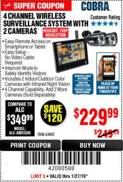 Harbor Freight Coupon 4 CHANNEL WIRELESS SURVEILLANCE SYSTEM WITH 2 CAMERAS Lot No. 63842 Expired: 1/27/19 - $229.99