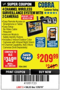 Harbor Freight Coupon 4 CHANNEL WIRELESS SURVEILLANCE SYSTEM WITH 2 CAMERAS Lot No. 63842 Expired: 1/20/19 - $209.99