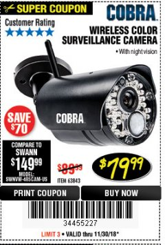 Harbor Freight Coupon WIRELESS COLOR SURVEILLANCE CAMERA Lot No. 63843 Expired: 11/30/18 - $79.99