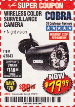 Harbor Freight Coupon WIRELESS COLOR SURVEILLANCE CAMERA Lot No. 63843 Expired: 2/28/19 - $79.99