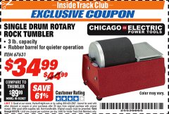 Harbor Freight ITC Coupon SINGLE DRUM ROTARY ROCK TUMBLER Lot No. 67631 Expired: 8/31/18 - $34.99