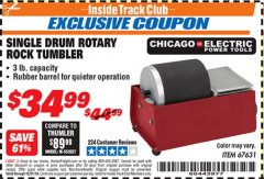 Harbor Freight ITC Coupon SINGLE DRUM ROTARY ROCK TUMBLER Lot No. 67631 Expired: 12/31/18 - $34.99