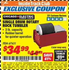 Harbor Freight ITC Coupon SINGLE DRUM ROTARY ROCK TUMBLER Lot No. 67631 Dates Valid: 12/31/69 - 2/28/19 - $34.99