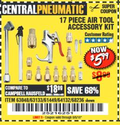 Harbor Freight Coupon 17 PIECE AIR TOOL ACCESSORY KIT Lot No. 68236/61449 Expired: 8/6/18 - $5.99