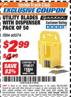 Harbor Freight ITC Coupon UTILITY BLADES WITH DISPENSER PACK OF 50 Lot No. 60574 Expired: 10/31/18 - $2.99
